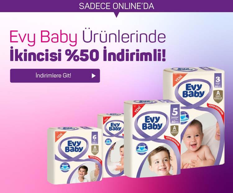 Evy Baby ürünlerinde ikincisi %50 indirimli!