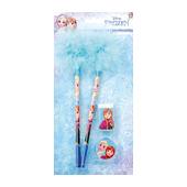 Disney Lisanslı Tüylü Kalem, Silgi, Kalemtraş Seti - Mavi