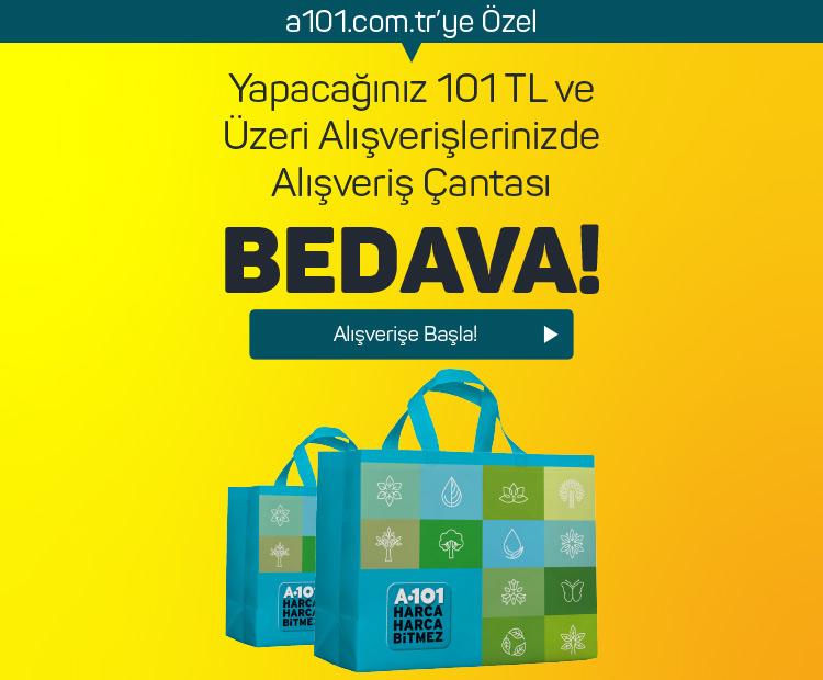 Yapacağınız 101 TL ve üzeri alışverişlerinizde alışveriş çantası BEDAVA!