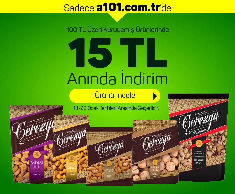 100 TL ve Üzeri Kuruyemiş Ürünlerinde 15 TL İndirim!