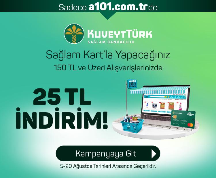 Kuveyt Türk  Sağlam Kart'a özel  150 TL ve Üzeri Siparişlerde 25 TL İndirim