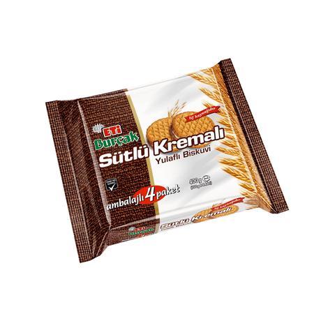 Eti Burçak Bisküvi Sütlü Kremalı 4x100 G