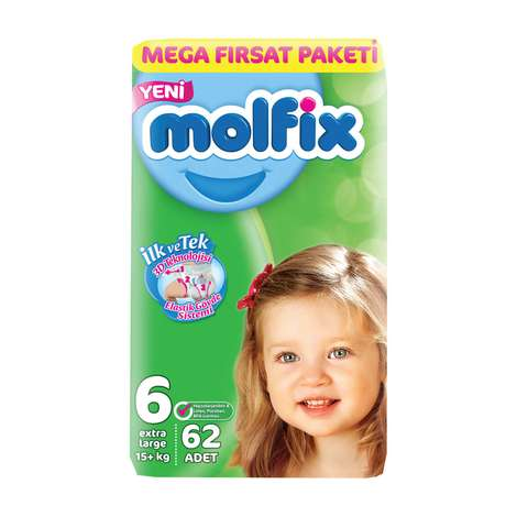 Molfix 6 Numara  Extra Large 62'li Bebek Bezi