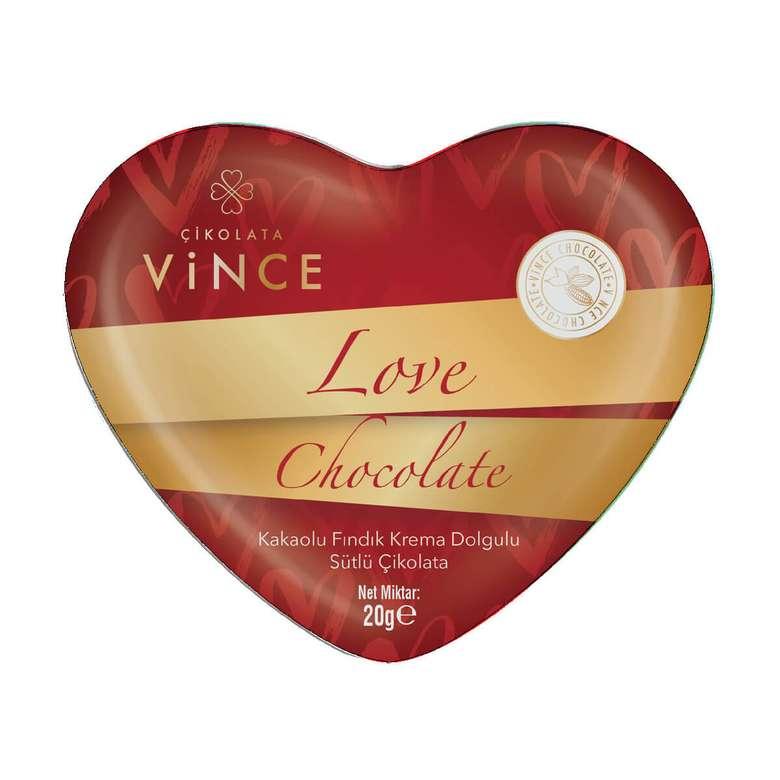 Vince Çikolata Kalp Fındık Krema Dolgulu 20 G