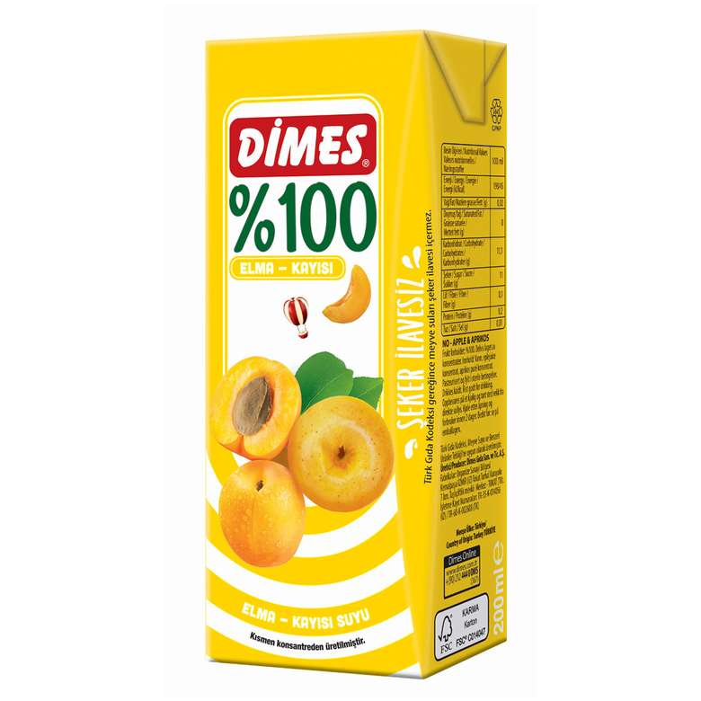 Dimes Meyve Suyu %100 Kayısı-Elma 200 Ml