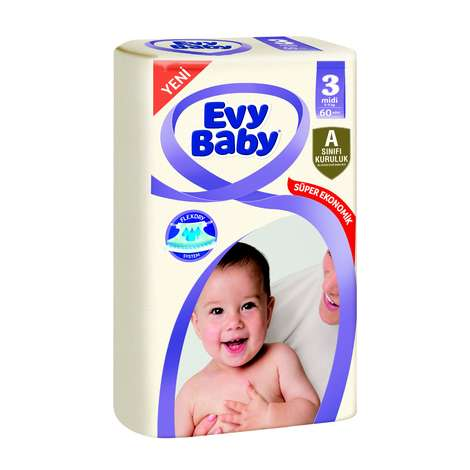 Evy Baby 3 Numara Midi 60'lı Çocuk Bezi