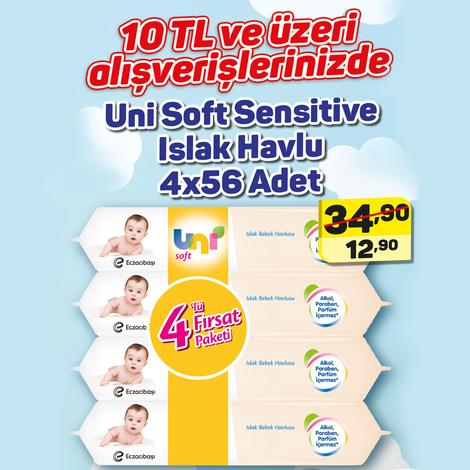 Uni Soft Islak Havlu Sensitive 4x56