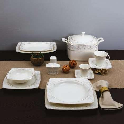 Güral Porselen Caroline Bone Kare Yemek Takımı 85 Parça