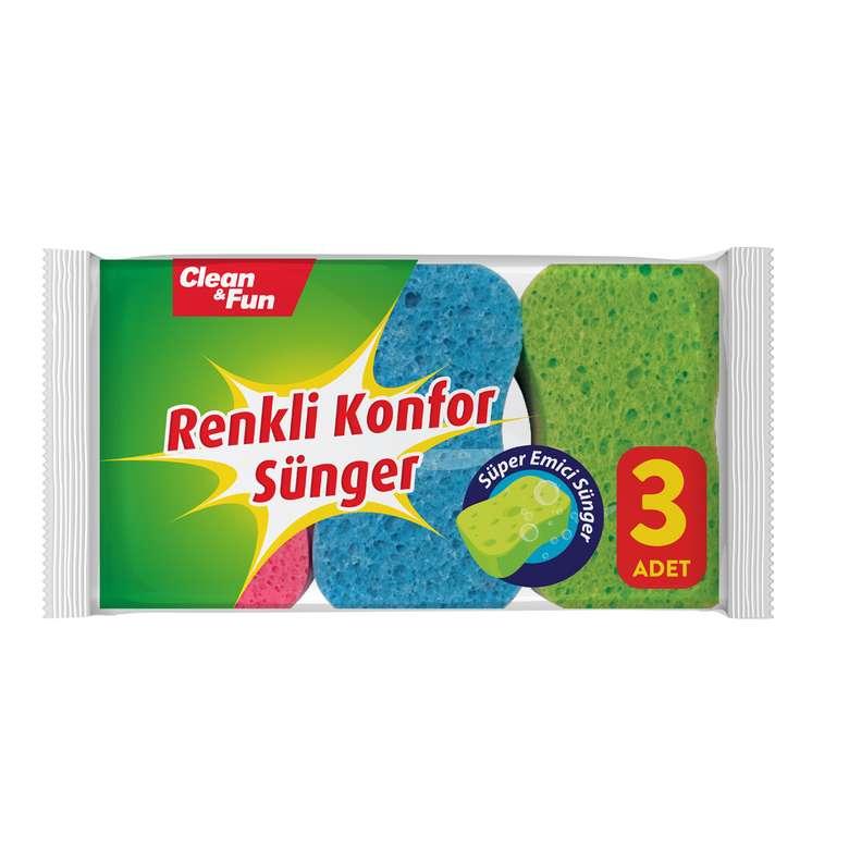 Clean&Fun Bulaşık Süngeri Renkli Konfor 3'lü