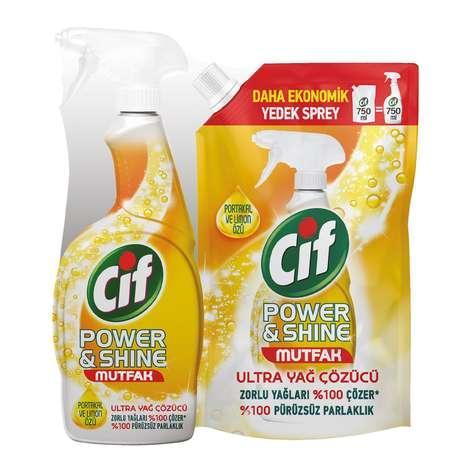 Cif Power&Shine  Mutfak Temizleyici Sprey 750 Ml + 750 Ml