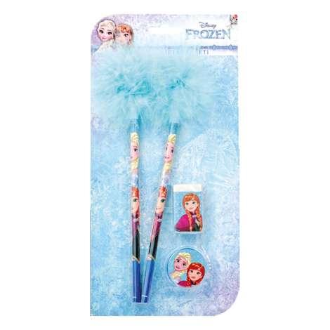 Frozen Lisanslı Tüylü Kalem, Silgi, Kalemtraş Seti
