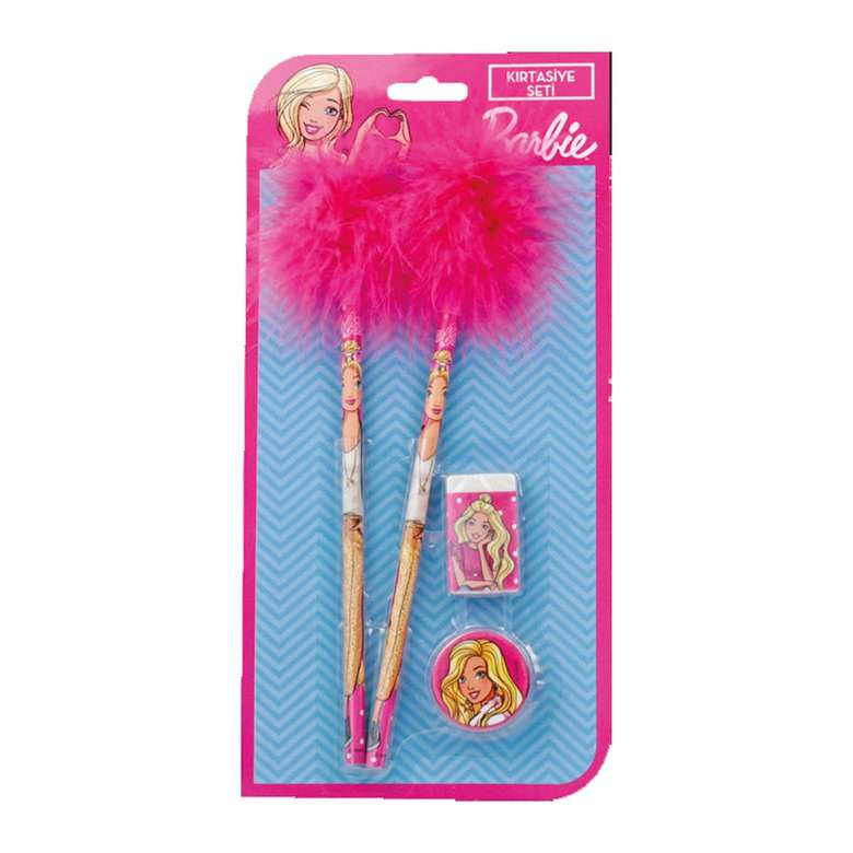 Barbie Lisanslı Tüylü Kalem, Silgi, Kalemtraş Seti