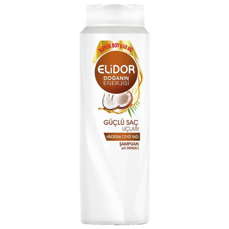Elidor Güçlü Saç Uçları için Hindistan Cevizi Yağı Özlü Şampuan 650 ml