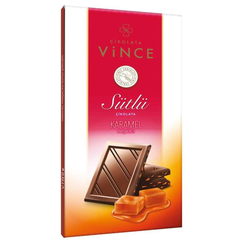 Vince Sütlü Karamel Parçacıklı Çikolata 70 G