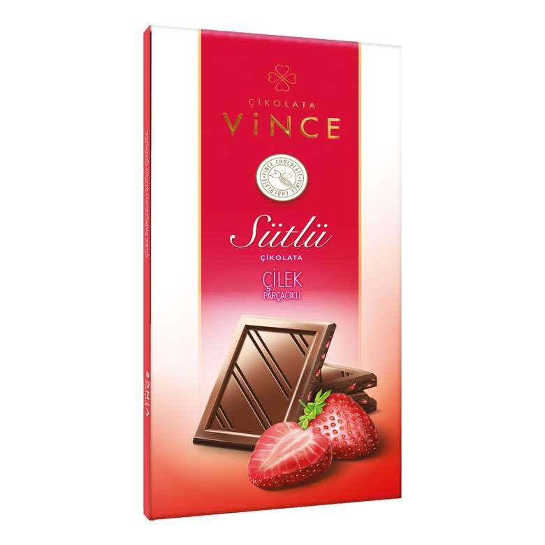 Vince Sütlü Çilek Parçacıklı Çikolata 70 G