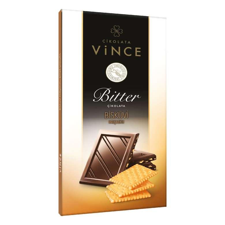 Vince  Bitter Bisküvi Parçacıklı Çikolata 70 G