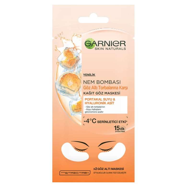 Garnier Nem Bombası Göz Altı Torbalarına Karşı Kağıt Göz Maskesi - Portakal Suyu