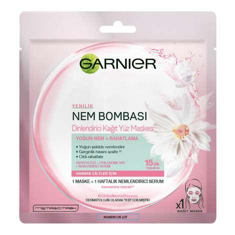 Garnier Nem Bombası Dinlendirici Kağıt Yüz Maskesi - Hassas Ciltler