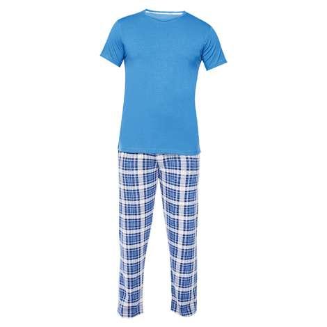Silk&Blue Bay Kısa Kol Pijama Takımı Mavi L