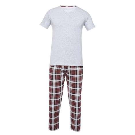 Silk&Blue Bay Kısa Kol Pijama Takımı  Gri M