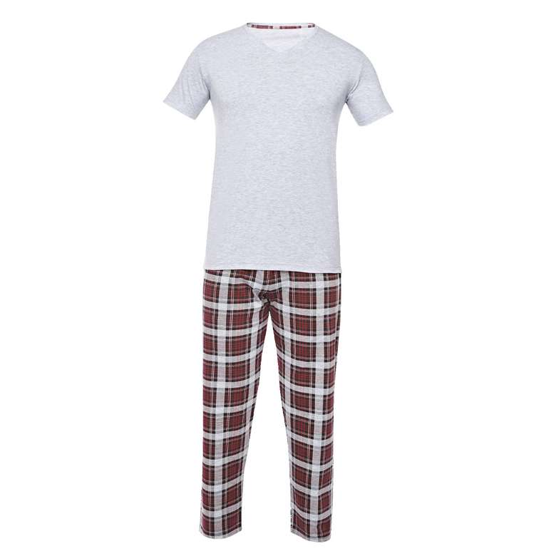Silk&Blue Bay Kısa Kol Pijama Takımı  Gri L