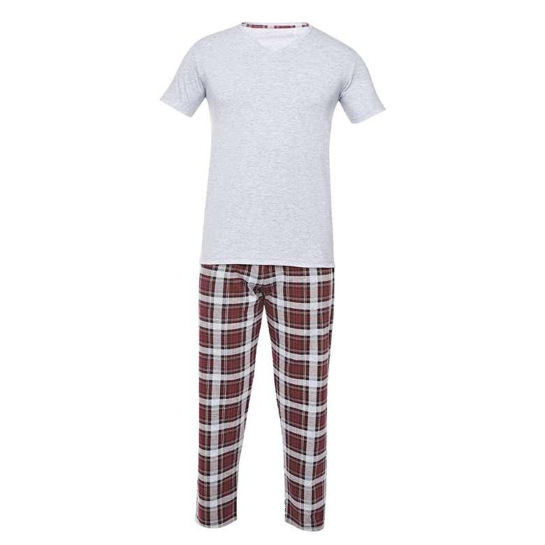 Silk & Blue Erkek Kısa Kol Pijama Takımı  Gri  XL