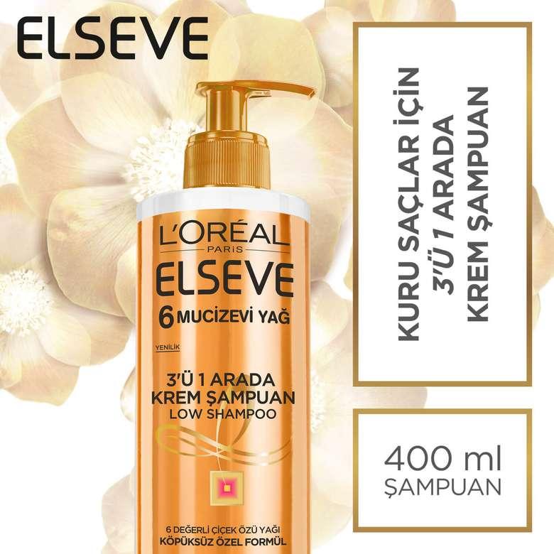 Elseve  6 Mucize Yağ 3'ü 1 Arada Krem Şampuan 400 ml