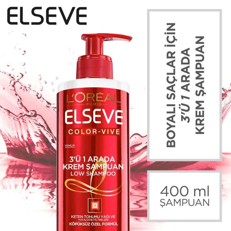 Elseve Boyalı Saçlar için 3'ü 1 Arada Krem Şampuan 400 ml