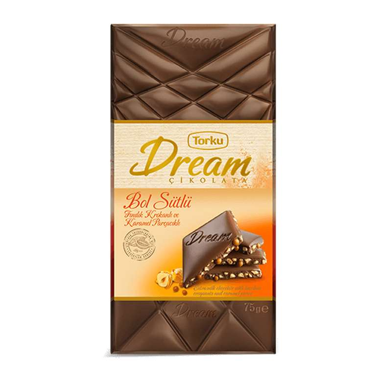 Torku Dream Fındık Krokan Karamel Parçacıklı Çikolata  75 G