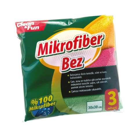 Clean & Fun Mikrofiber Temizlik Bezi  30x30 cm 3'lü