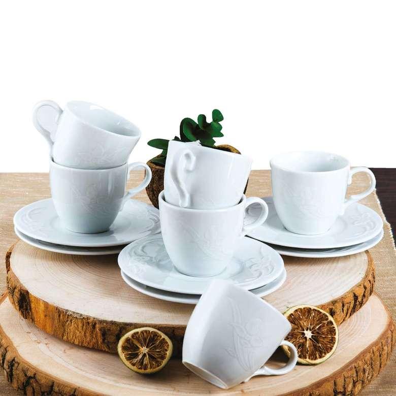 Güral Porselen Kahve Fincan Takımı 6'lı Çiçek Desenli Dinemis/Rubi