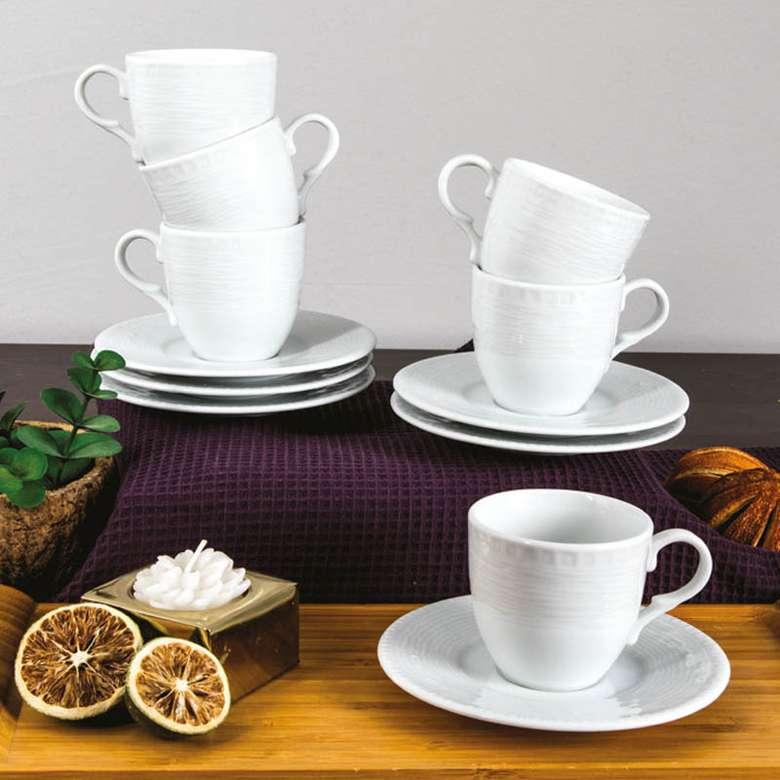 Güral Porselen Kahve Fincan Takımı 6'lı Dinemis/Rubi