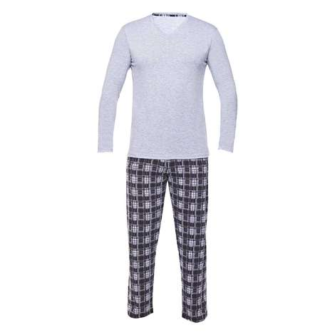 Bay Uzun Kollu Süprem Pijama Sıl, Gri, M