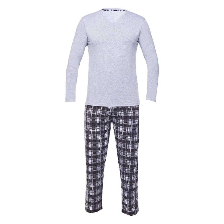 Bay Uzun Kollu Süprem Pijama Sıl, Gri, S