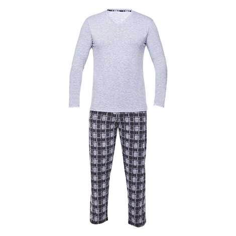 Bay Uzun Kollu Süprem Pijama Sıl, Gri, L