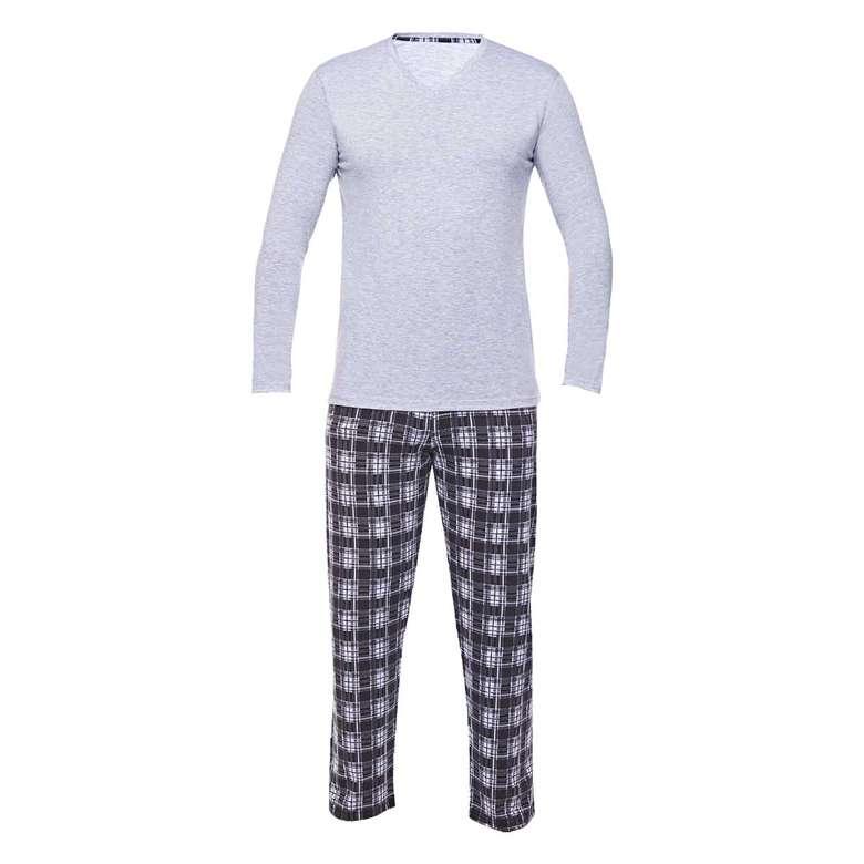 Erkek Uzun Kollu Süprem Pijama Sıl, Gri, L