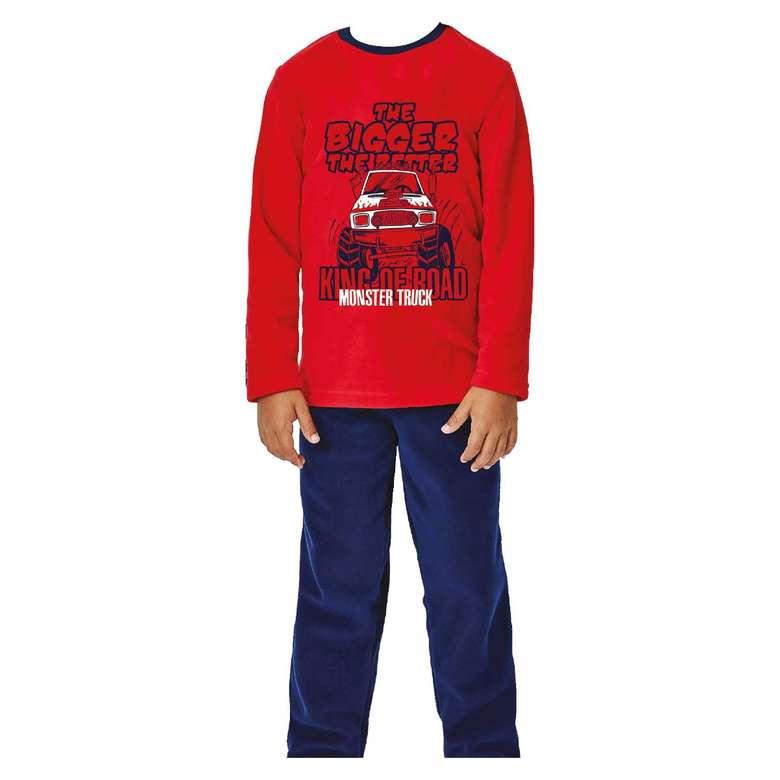 Silk&Blue Çocuk Polar Pijama Takımı - Kırmızı 9-10 Yaş