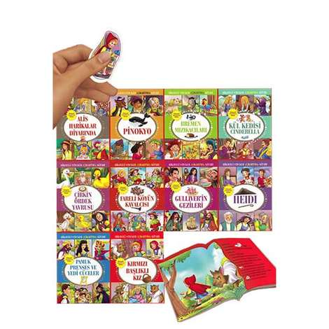 Hikayeli Sticker Çıkartma Kitapları Serisi - 10 Kitap - Set 4