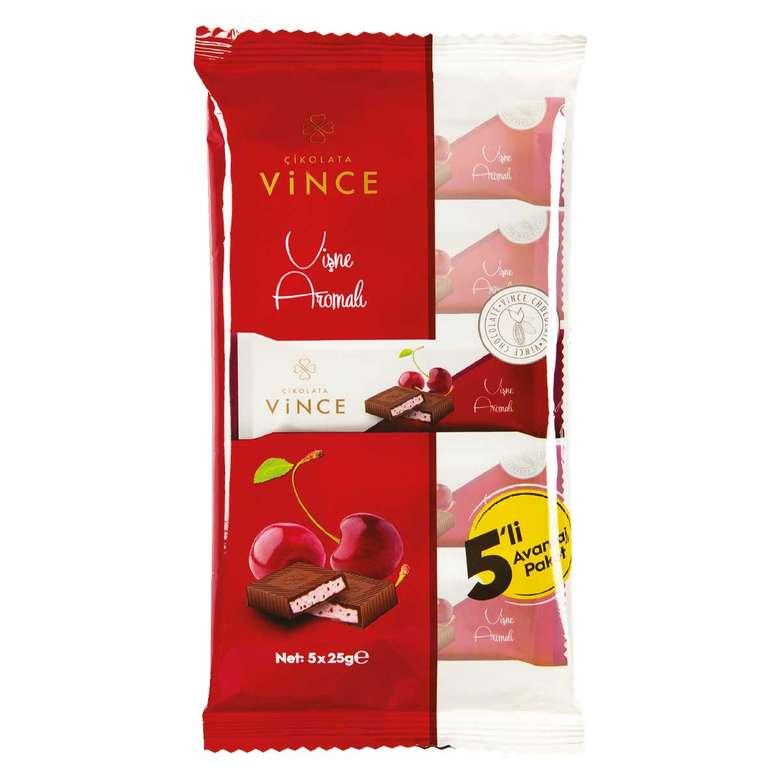 Vince Vişne Aromalı Dolgulu Çikolata 5*25 G