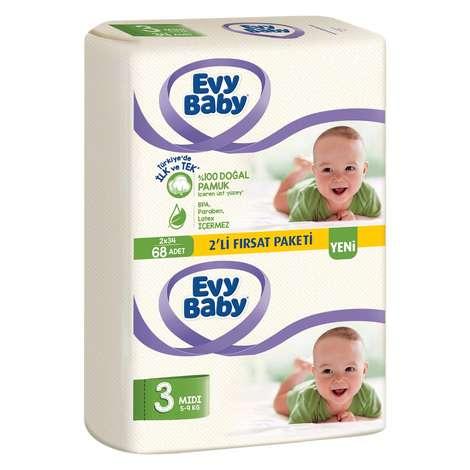 Evy Baby Bebek Bezi Midi 2'li Paket 68'li