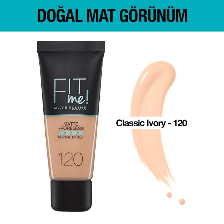 Maybelline New York Fit Me Matte&Poreless Fondöten 30 ml - 120 Classic Ivory