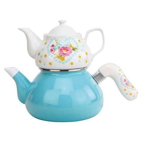 Emaye Çaydanlık Porselen Demlikli - Mavi