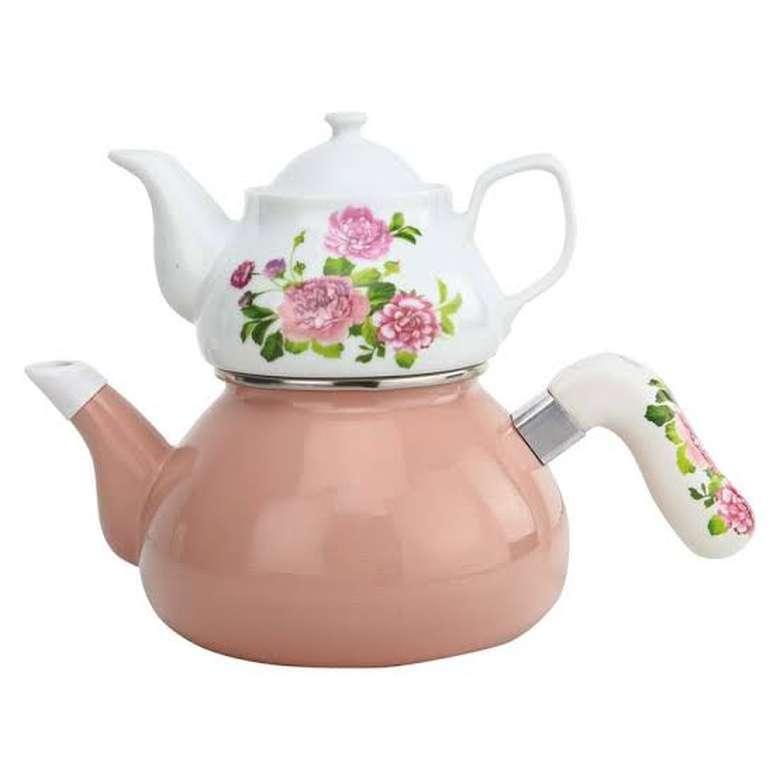 Emaye Çaydanlık Porselen Demlik - Kırmızı