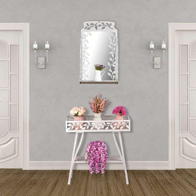 Ayna Ve Çiçeklik Ferforje - Beyaz