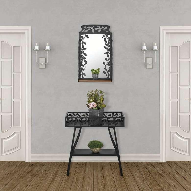 Ayna Ve Çiçeklik Ferforje - Siyah