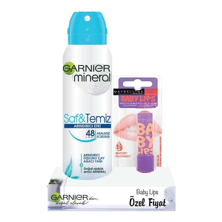 Garnier Mineral Saf&Temiz Deodorant 150 ml+Baby Lips Dudak Balmı