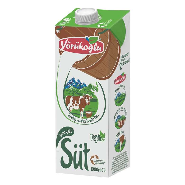 Yörükoğlu Süt Yarım Yağlı 1 L