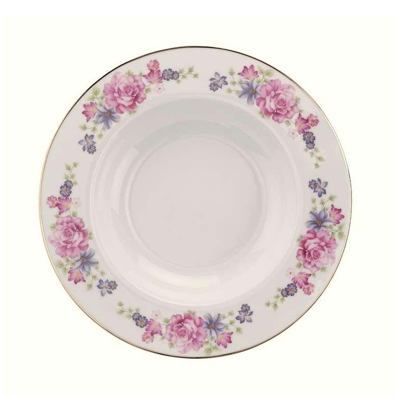Kütahya Bone Porselen Yemek Takımı 84 Parça - Pembe Mor Çiçekli