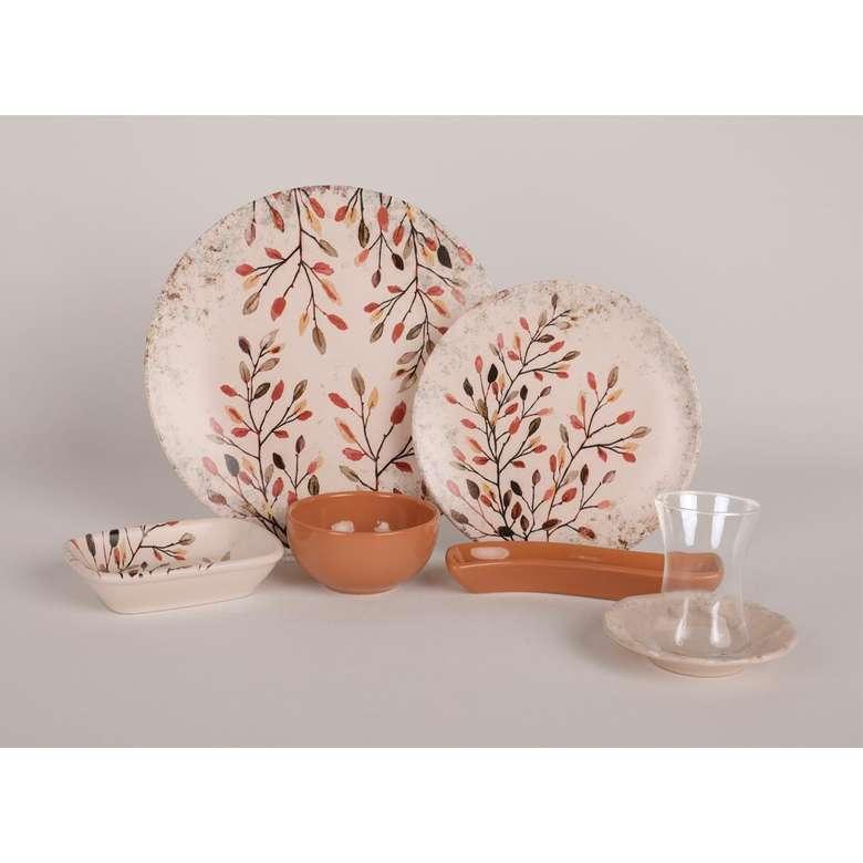 Keramika Kahvaltı Seti 19 Parça - Sarmaşık