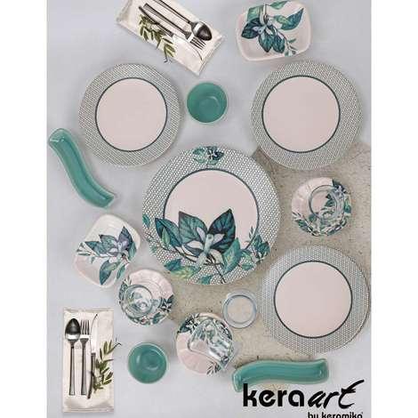 Keramika Kahvaltı Seti 19 Parça - Mavi Çiçekli